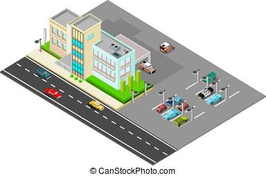 wozy, isometric, szpital, parking