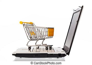 wozy, komputer, zakupy, klawiatura