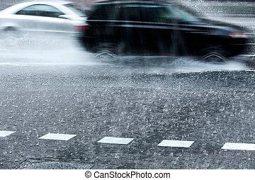 wozy, ulewny, deszcz, zamazany