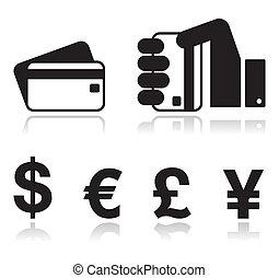 wpłata, metody, ikony, komplet, -, kredyt