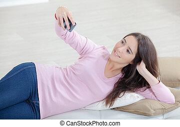 wpływy, kobieta, selfie