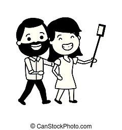wpływy, para, selfie, uśmiechanie się