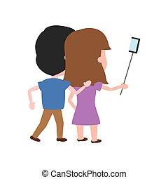 wpływy, prospekt, selfie, para, wstecz