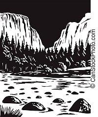 WPA Monochrome Art El Capitan in Yosemite National Park in California USA Grayscale Black and White