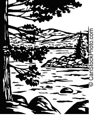 WPA poster monochrome art of Emerald Bay State Park in South Lake Tahoe, California, USA done in works project administration black and white style.