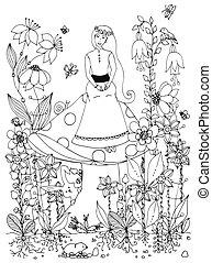 wróżka, doodle, posiedzenie, white., wróżka, książka, królik, adults., zentangl, historia, wektor, marchew, anti, dziewczyna, siła, księżna, czarnoskóry, ilustracja, kwiaty, butterfly., kolorowanie, mushroom.