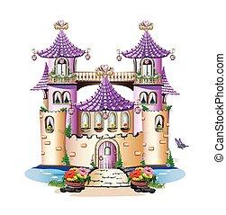 wróżka, różowy, zamek, opowiadanie