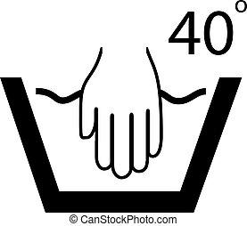 wręczać mycie, symbol