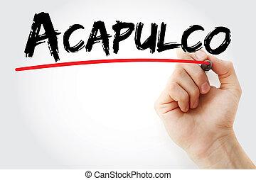 wręczać pisanie, acapulco, z, markier