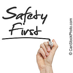 wręczać pisanie, bezpieczeństwo pierwsze