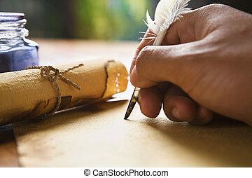 wręczać pisanie, używając, pióro dudki