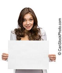 wręczając, kobieta, copyspace, smiley