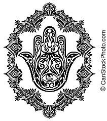wr275.eps - Hamsa hand in decorative frame
