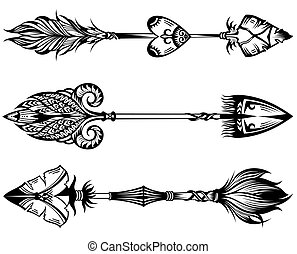 wr303.eps - Arrow set in Native American Indian style. Boho...