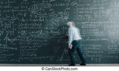 wrakkigheid, chalkboard, schrijvende , vergelijkingen, tijd,...