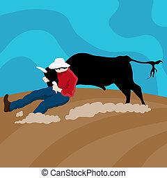 wrangler, bétail, cow-boy
