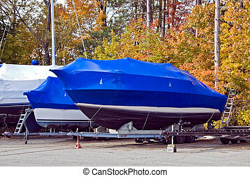 Wrap It Up - Power boats wrapped in shrink wrap for weather...