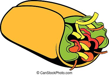 Wrap sandwich icon cartoon