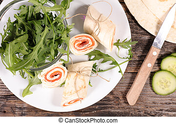 wrap with cheese and salmon