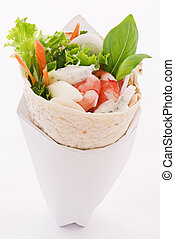 wrap with shrimps and vegetable
