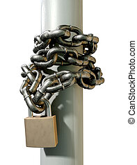 Wrapped Chain And Padlock Side - A regular metal chain...