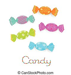 Wrapped colored candies - Wrapped candies in colored cover...