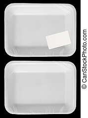 Wrapped empty plastic white food container with blank label...
