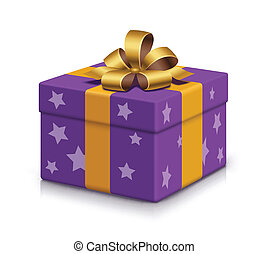 Wrapped gift box - Violet present box with stars and bow on...