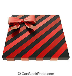 Wrapped gift box with a bow and ribbon