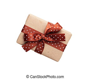 wrapped gift box with ribbon bow