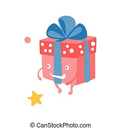 Wrapped Gift Box With Ribbon Children Birthday Party Attribute Cartoon Happy Humanized Character In Girly Colors