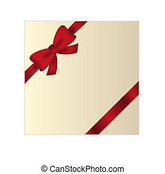wrapped gift or gift card with red ribbon on white ...