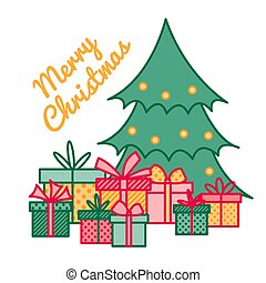 Wrapped gifts and presents under Christmas tree with greeting sign Merry Christmas, New Year illustration, line art