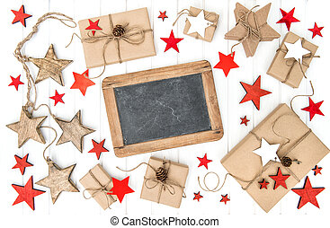 Wrapped gifts christmas decoration chalkboard