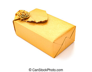wrapped golden present box on white background