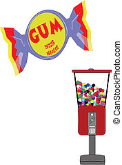 gum - wrapped gum as well as gumball machine from fifties...