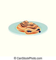 Wrapped pancakes with blueberry, food for breakfast vector Illustration on a white background