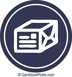 wrapped parcel circular icon symbol