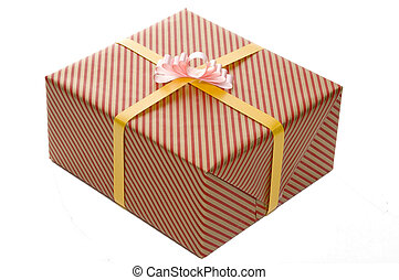 Wrapped Present - A single present wrapped in red and gold