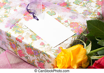 Wrapped Present with a Blank Gift Tag