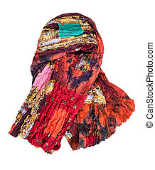wrapped red brown patchwork scarf isolated
