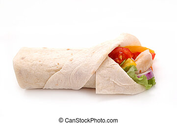 wrapped sabwich with chicken and wegetables