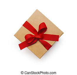 Wrapped vintage gift box with red ribbon bow, isolated clipping mask on white background, top view