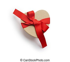 Wrapped vintage heart gift box with red ribbon bow, isolated clipping mask on white background, top view, illustration for valentine's day or wedding.