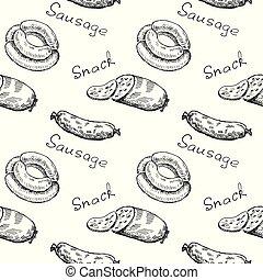 wrapper., modèle, saucisse, text., vendange, seamless, encas