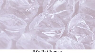 Wrapping film with bubbles - Closeup of transparent...