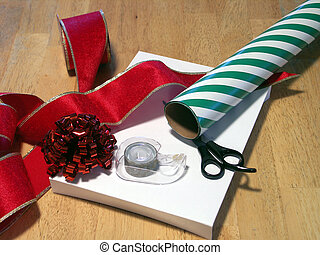 wrapping gifts 2 - scissors, tape, ribbon and wrapping paper...