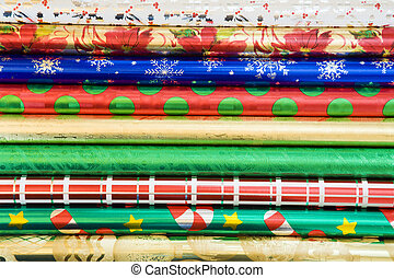 Wrapping paper background - Rolls of colorful wrapping paper...