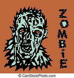 Wrath of the zombie. Vector illustration. Black and white ...