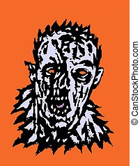 Wrath of the zombie. Vector illustration. States of mind. ...